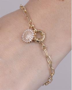Pulseira de metal dourado com strass cristal Brisa