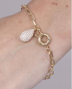 Pulseira de metal dourado com strass cristal Bonnie