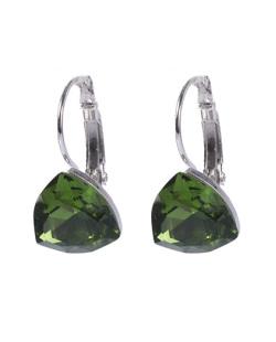 Argola de metal prateado com pedra verde Dinah
