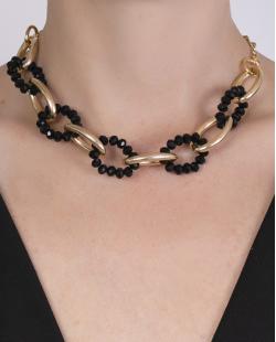 Gargantilha choker de metal dourado com pedra preta Raabe