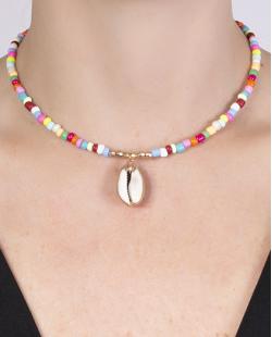 Gargantilha choker de metal dourado com pedras coloridas Rúbia