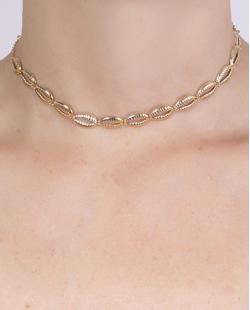 Gargantilha choker de metal dourado Tiana