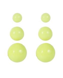 Kit 3 pares de brincos de acrílico amarelo neon Anne