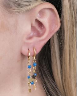 Argola de metal dourado com pedra azul Becky