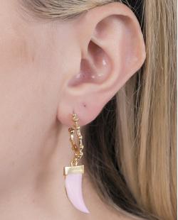 Argola de metal dourado com rosa Bettina