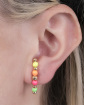 Ear hook de metal dourado com pedras coloridas Cora