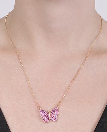 Colar de metal dourado com strass rosa Flora