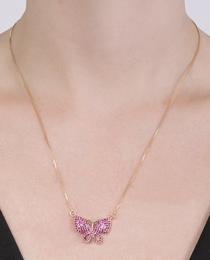 Colar de metal dourado com strass rosa Felipa
