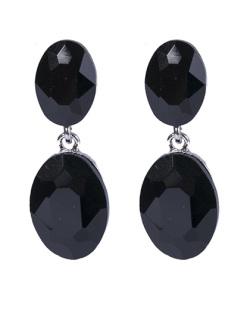 Brinco de metal prateado com pedra preta Zara