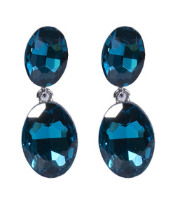 Brinco de metal prateado com pedra azul Zara