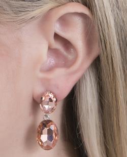 Brinco de metal prateado com pedra rosé Zara