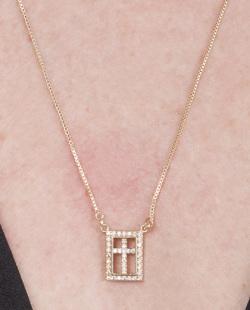 Colar de metal dourado com pedra rosé Mathilda