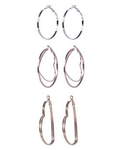 Kit 3 pares de argolas de metal prateado, rosé e dourado Izza