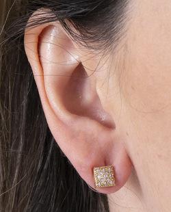 Brinco pequeno de metal dourado com strass cristal Raff