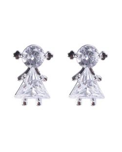 Brinco pequeno de metal prateado com pedra cristal Woman