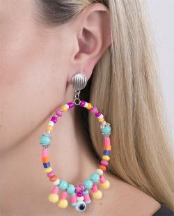 Maxi brinco de metal prateado com pedras coloridas Rosita
