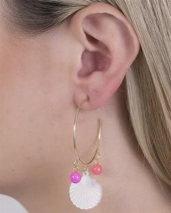 Argola de metal dourado com pedra rosa Jerry