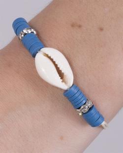 Pulseira de corda com búzio e acrílico azul Vieras