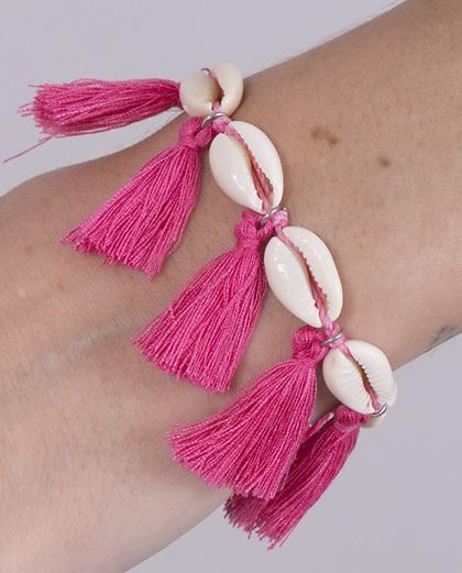 Pulseira de corda com búzio e tassel pink Dinah