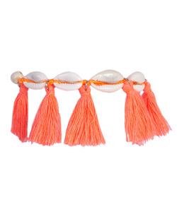 Pulseira de corda com búzio e tassel rosa Dinah