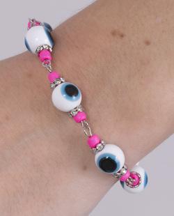Pulseira de metal prateado com olho grego e pedra pink Ivy