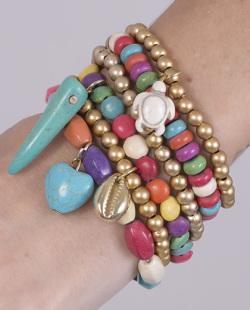 Kit 6 pulseiras com pedras coloridas Macky