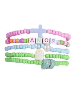 Kit 5 pulseiras com pedras coloridas Mary