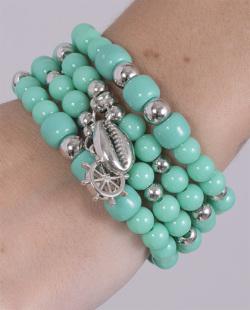 Kit 4 pulseiras com pedra verde Manuh