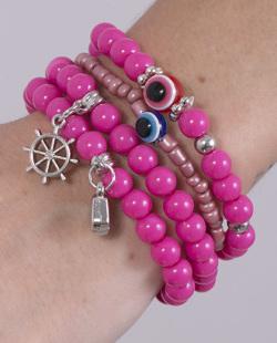 Kit 4 pulseiras com pedra rosa Rafah