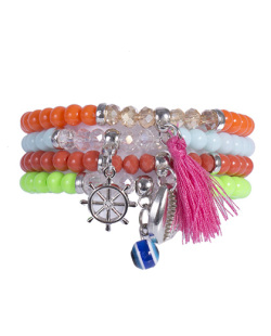 Kit 4 pulseiras com pedras coloridas Biah