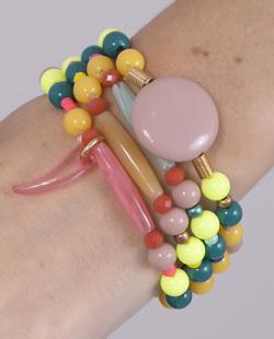 Kit 4 pulseiras com pedras coloridas Merlyn