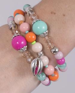 Kit 3 pulseiras com pedras coloridas Ceah