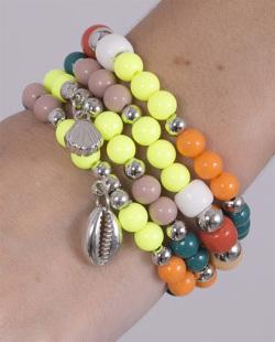 Kit 4 pulseiras com pedras coloridas Riach