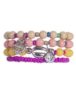 Kit 4 pulseiras com pedras coloridas Xiong