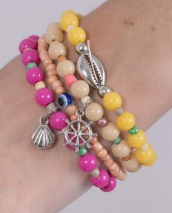 Kit 4 pulseiras com pedras coloridas Guguy