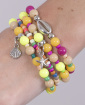 Kit 4 pulseiras com pedras coloridas Fepo