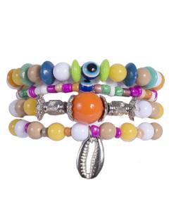 Kit 4 pulseiras com pedras coloridas Hugy