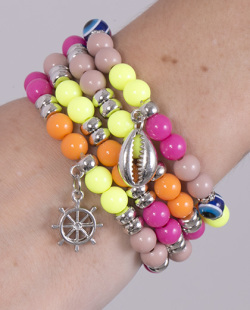 Kit 4 pulseiras com pedras coloridas Lucky
