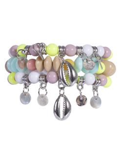 Kit 3 pulseiras com pedras coloridas Deka