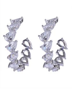 Argola de metal prateado com pedra cristal Vick