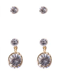 Kit 2 pares de brinco dourado com pedra cristal Antonieta