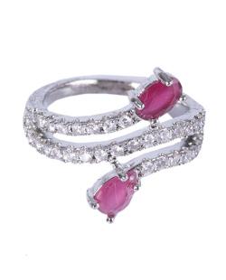 Anel prateado com pedra pink e strass cristal Elora