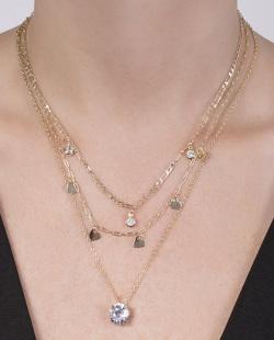 Kit 3 colares dourado com pedra cristal Luisi