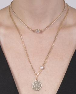 Kit 2 colares dourado com pedra cristal Monteze