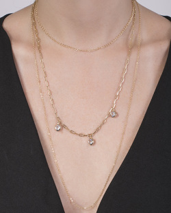 Kit 3 colares dourado com pedra cristal Romar