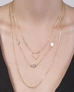 Kit 3 colares dourado com pedra cristal Gleizer