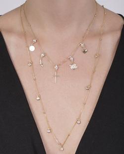 Kit 2 colares dourado com pedra cristal Motta