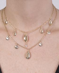 Kit 2 colares dourado com pedra cristal Mesquita