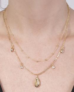 Kit 2 colares dourado com pedra cristal Pontes