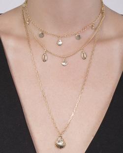 Kit 3 colares dourado com pedra cristal Ewerto